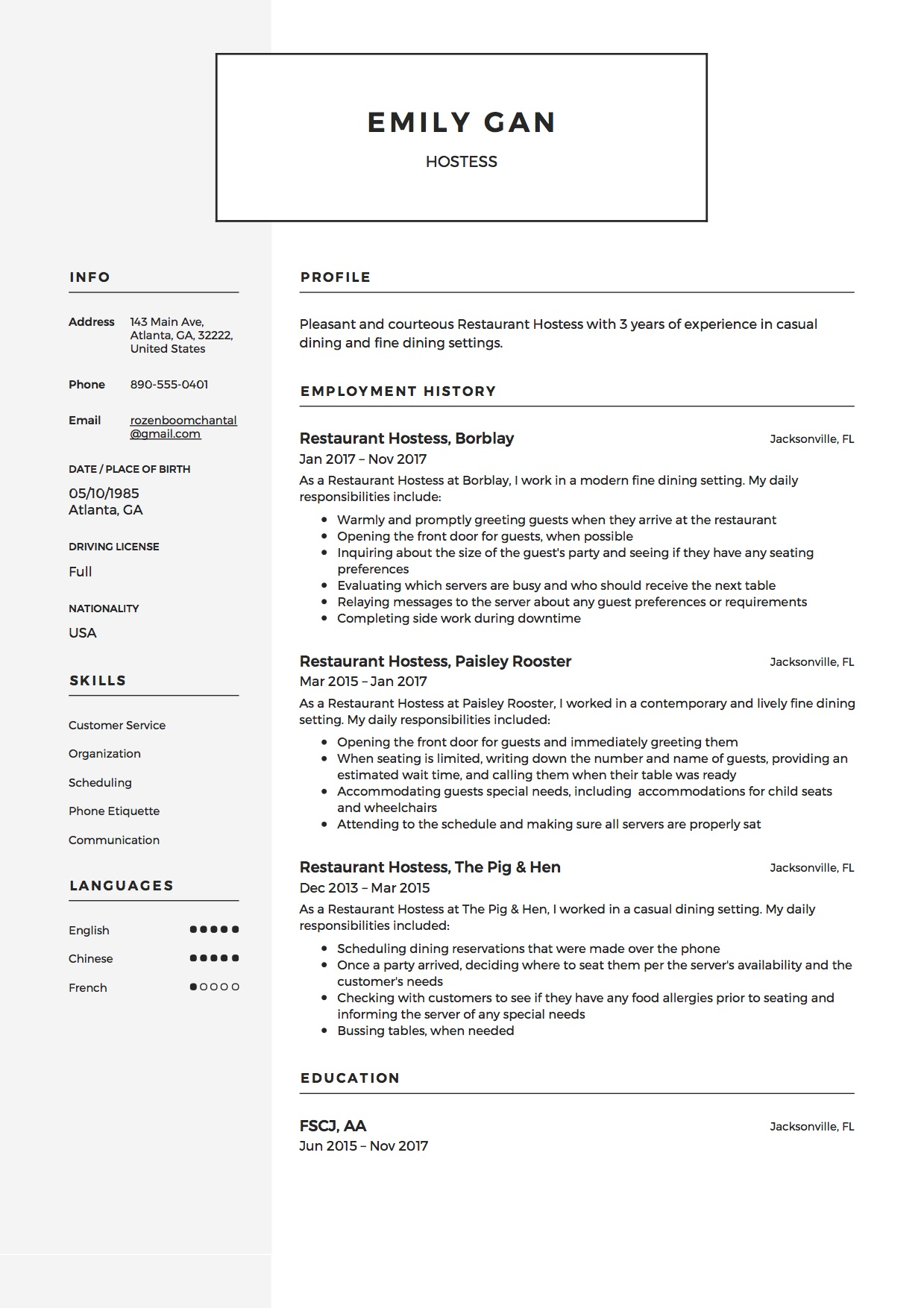 hostess resume guide examples free downloads for restaurant emily gan sample experience Resume Resume Examples For Restaurant Hostess