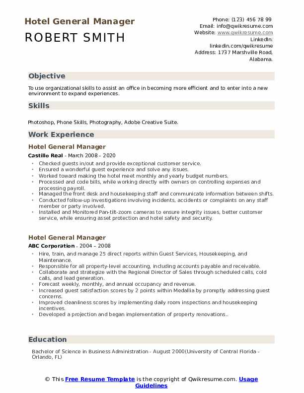 hotel general manager resume samples qwikresume skills pdf are there really free Resume Hotel Manager Skills Resume