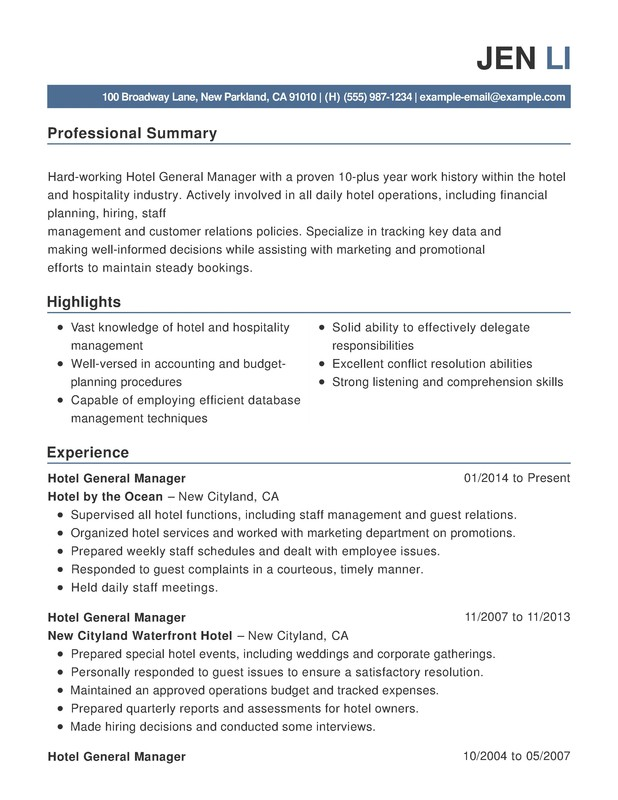 hotel hospitality combination resume samples examples format templates help manager Resume Hotel Manager Skills Resume