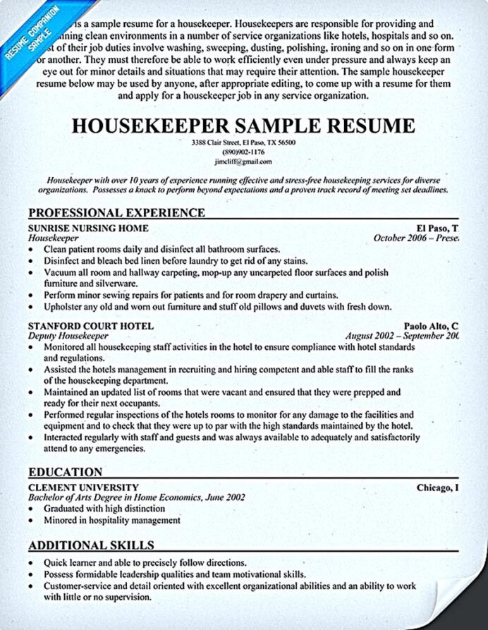 housekeeper resume should able to contain and highlight important aspects that help you Resume Hospital Housekeeping Resume