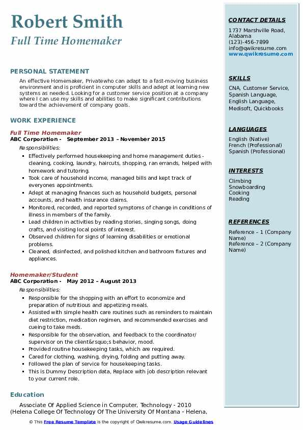 housewife resume sample format moving company examples with telecommunications keywords Resume Moving Company Resume Examples