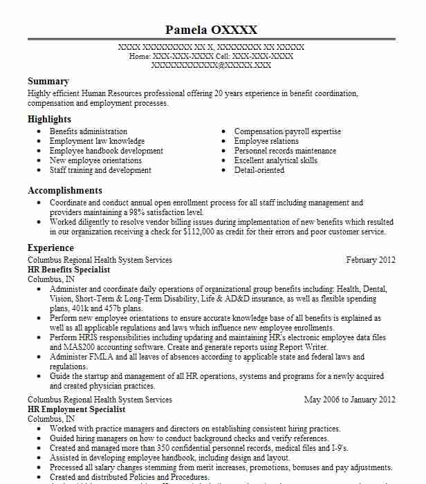 hr benefits specialist resume example resumes livecareer high school teacher examples rig Resume Payroll And Benefits Specialist Resume