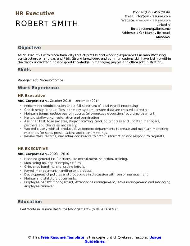 hr executive resume samples qwikresume format pdf ats free scan stanford services Resume Executive Resume Format