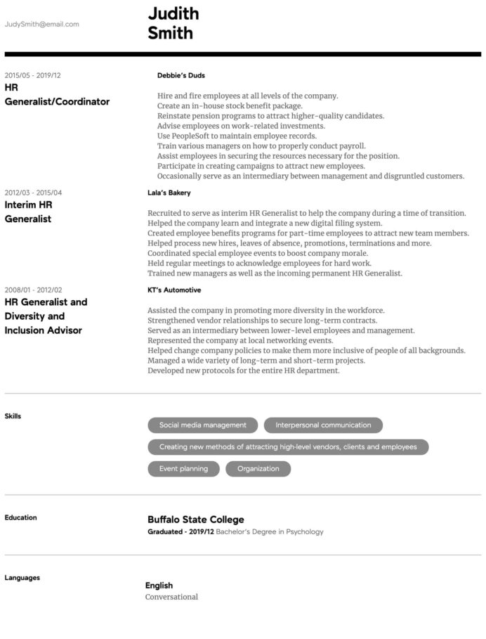 hr generalist resume samples all experience levels high level format intermediate facets Resume High Level Resume Format