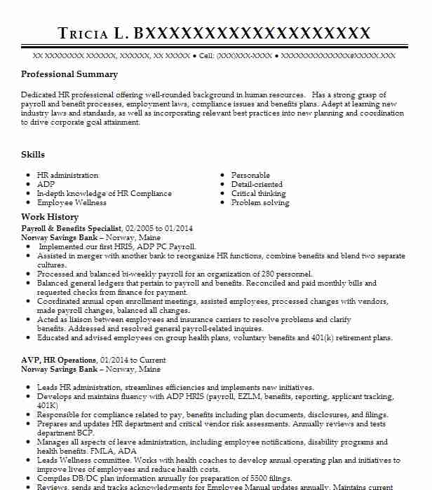 hr payroll and benefits specialist resume example lockport new le petit prince en Resume Payroll And Benefits Specialist Resume