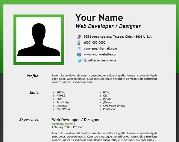 html5 resume with microdata to make create job template valet en español ejemplos Resume To Make A Resume