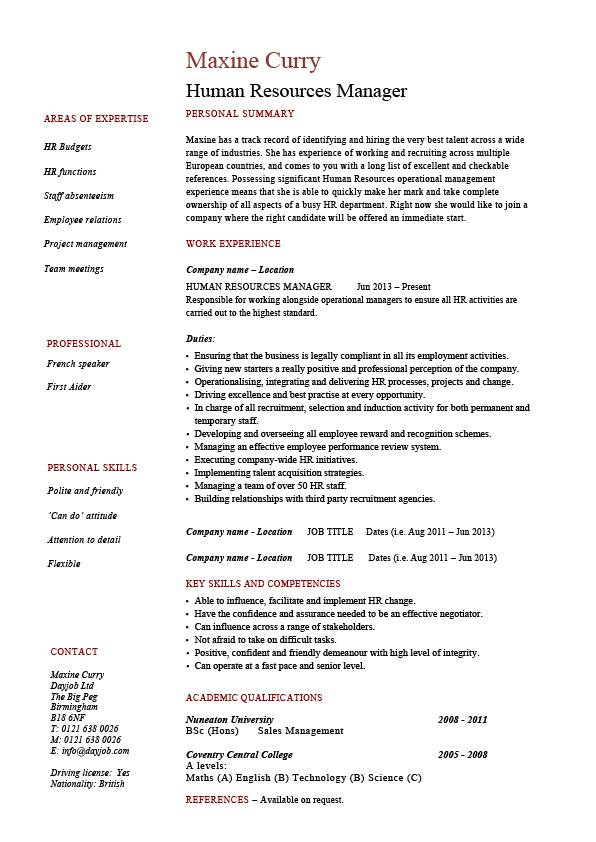 human resources manager resume job description template sample example hr staff duties Resume Sample Resume Duties And Responsibilities