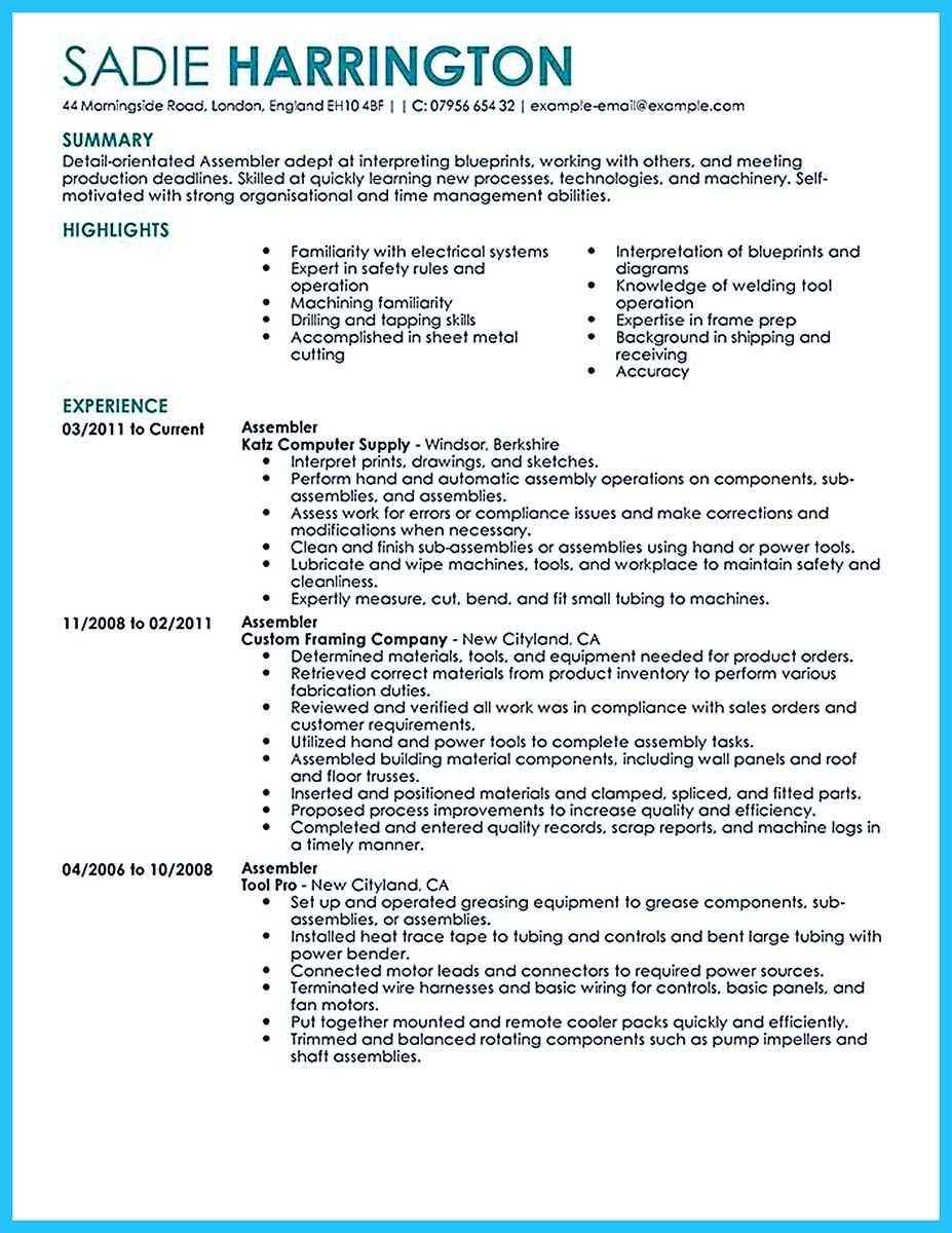 if you need to propose job and work in group write assembly line worker resume with this Resume Assembly Line Operator Resume