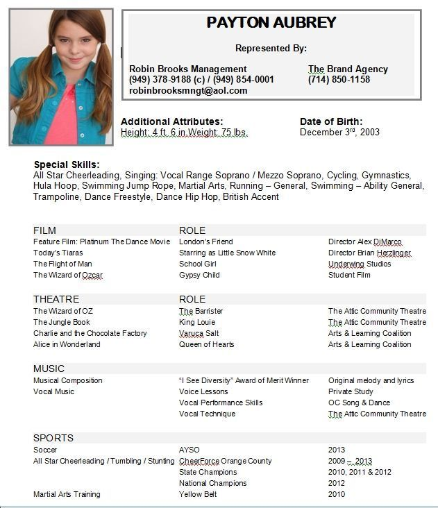 image result for beginning child actor resume template acting actors dance audition Resume Child Dance Resume For Audition