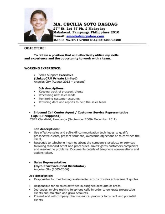 image result for objectives in resume call center no experience job examples samples Resume Call Center Experience Resume
