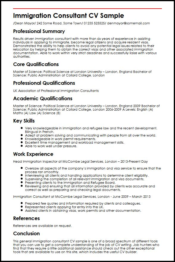 immigration consultant cv example myperfectcv visa officer resume sample transfer pricing Resume Resume Immigration Status