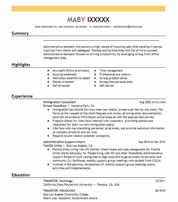 immigration consultant resume example resumes livecareer status amanda augustine play Resume Resume Immigration Status
