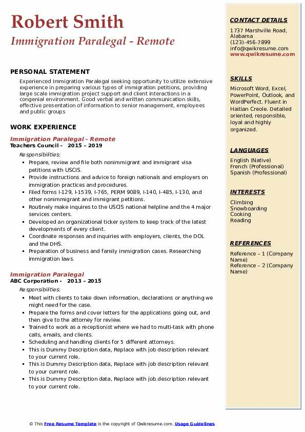 immigration paralegal resume samples qwikresume status pdf web development manager Resume Resume Immigration Status