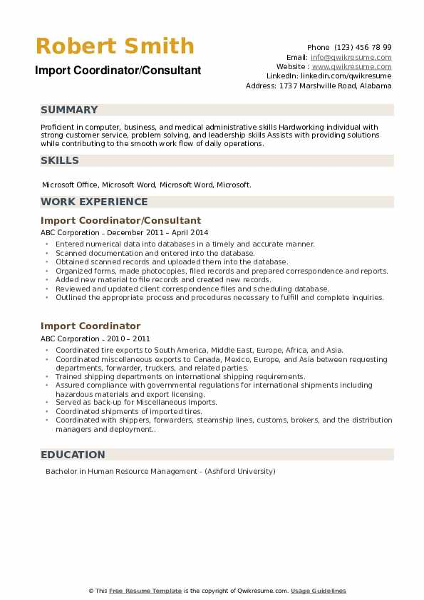 import coordinator resume samples qwikresume to template pdf listing certifications on Resume Import Resume To Template