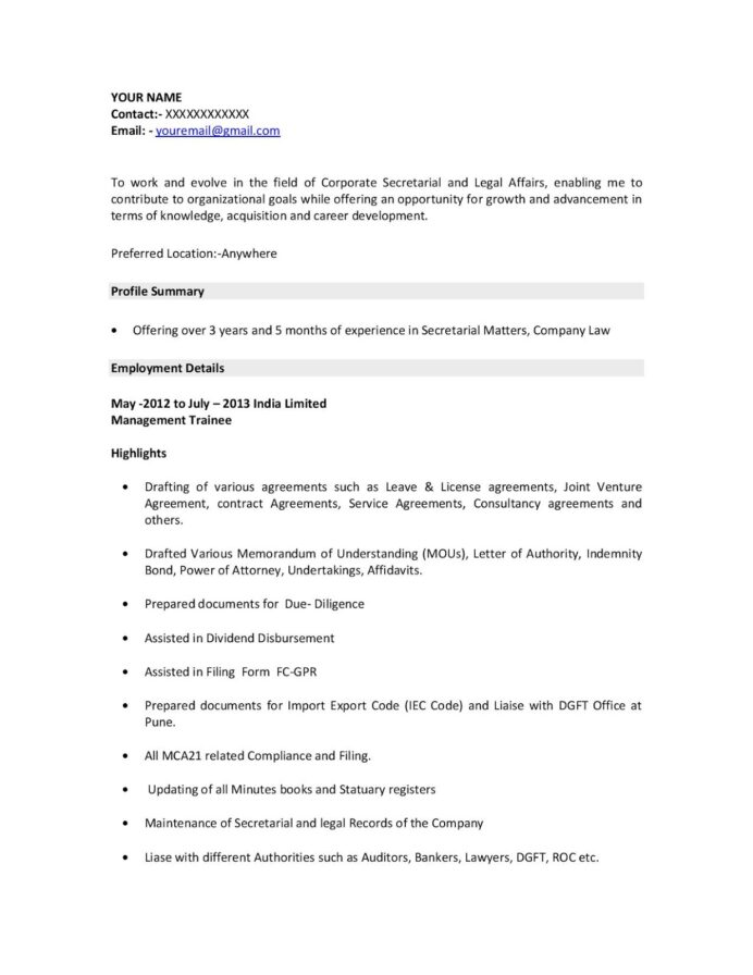 indian resume example best examples format for company secretary internship management Resume Company Secretary Profile Resume