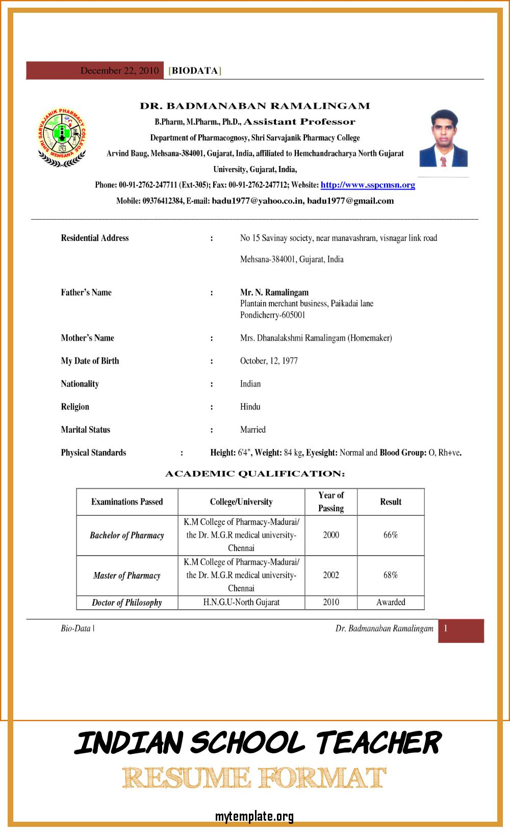 indian school teacher resume format free templates primary word of pin possible skills Resume Primary School Teacher Resume Word Format