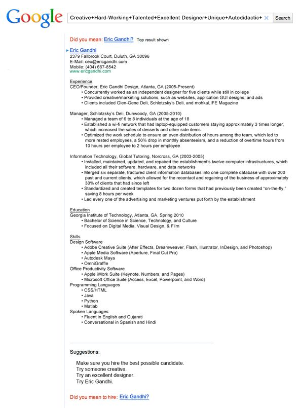 insanely cool resumes that landed interviews at google and other top jobs creative resume Resume Best Resume For It Jobs