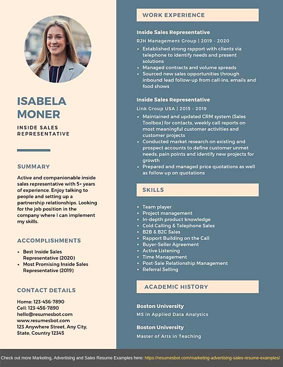 inside representative resume samples templates pdf word resumes bot marketing examples Resume Marketing Resume Examples 2020
