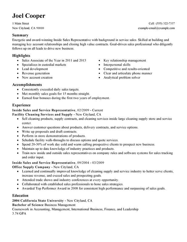 inside resume examples free to try today myperfectresume maintenance and janitorial Resume Inside Sales Resume Examples