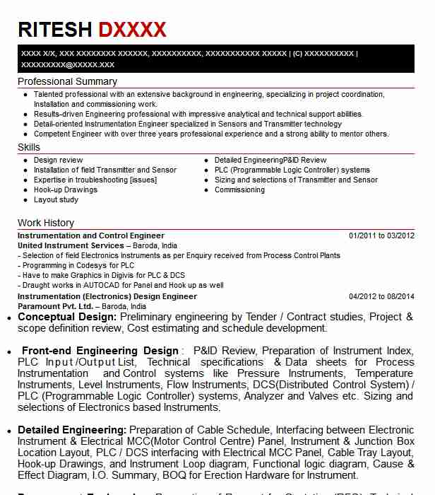 instrumentation and control engineer resume example livecareer systems sample compare Resume Control Systems Engineer Resume Sample