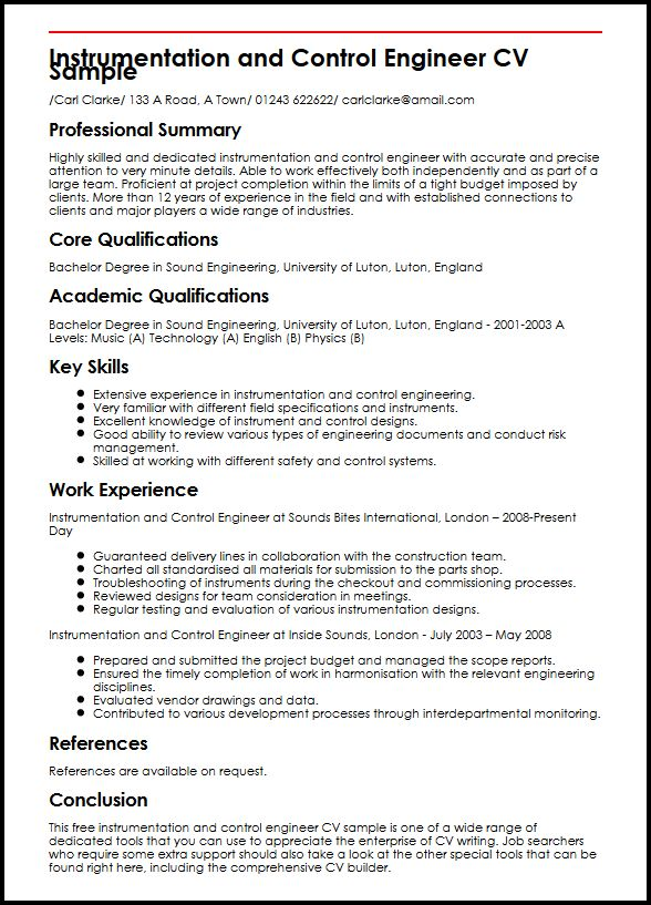 instrumentation control engineer cv example myperfectcv systems resume sample and create Resume Control Systems Engineer Resume Sample