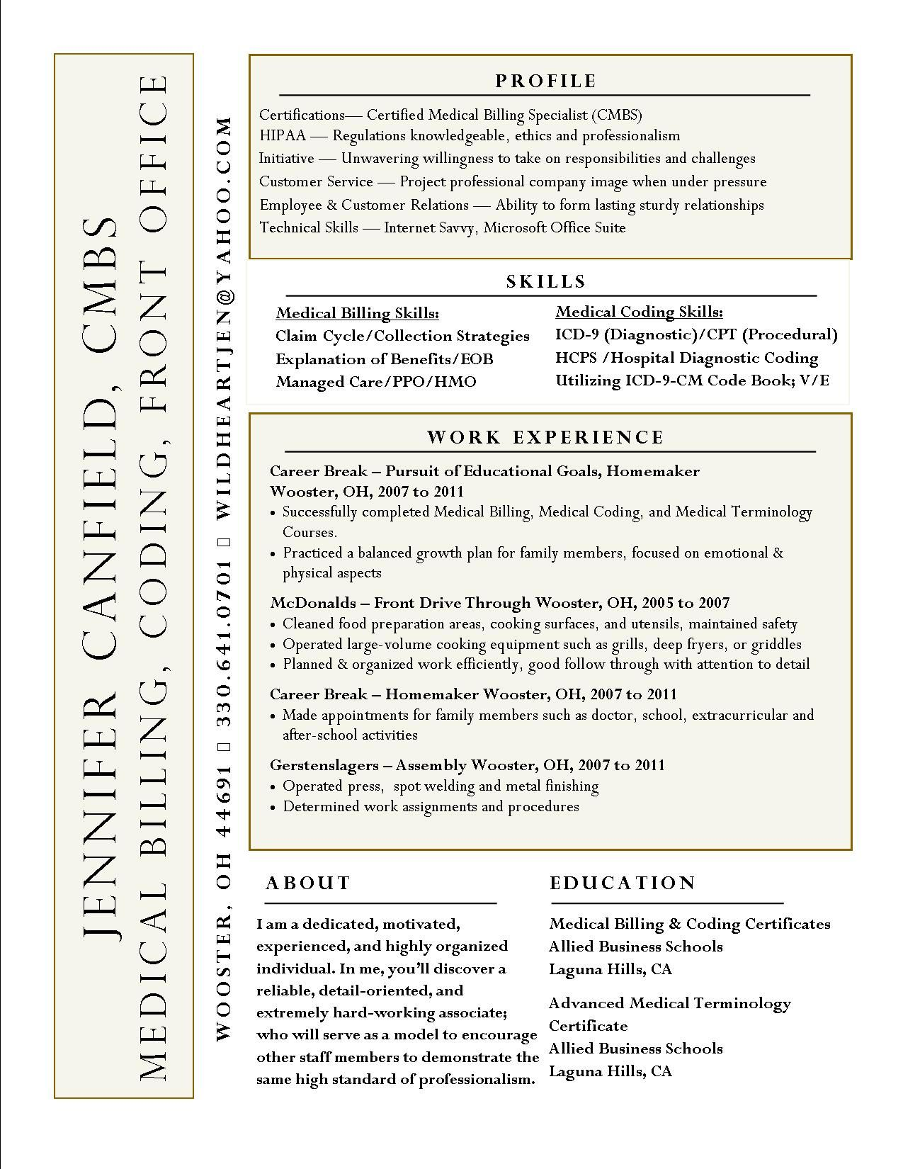 interesting resume idea not sure like the name on side difficult to read for medical Resume Sample Resume For Medical Billing And Coding Student