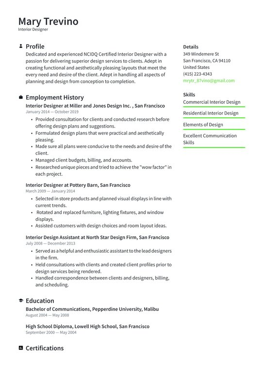 interior designer resume examples writing tips free guide design for kindergarten teacher Resume Interior Design Resume Examples