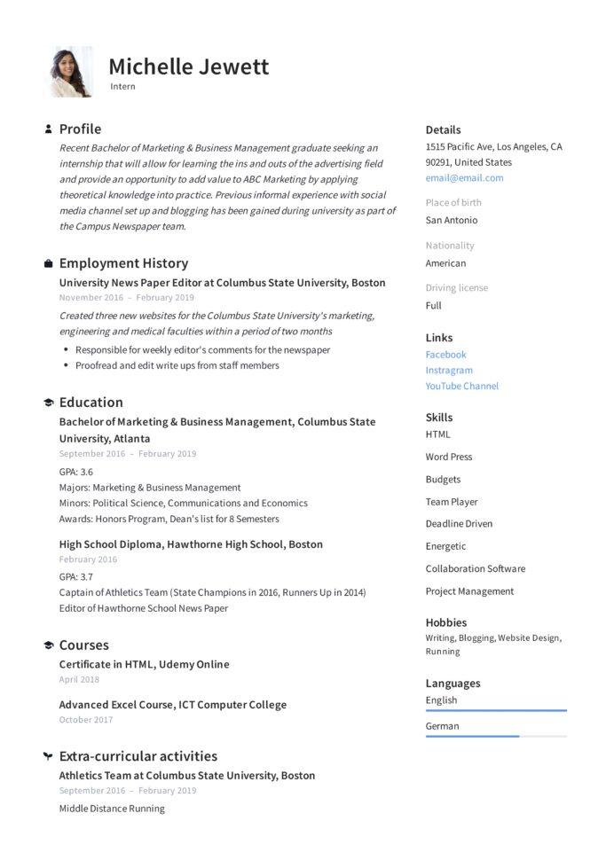 intern resume writing guide samples pdf college internship example for office assistant Resume College Internship Resume