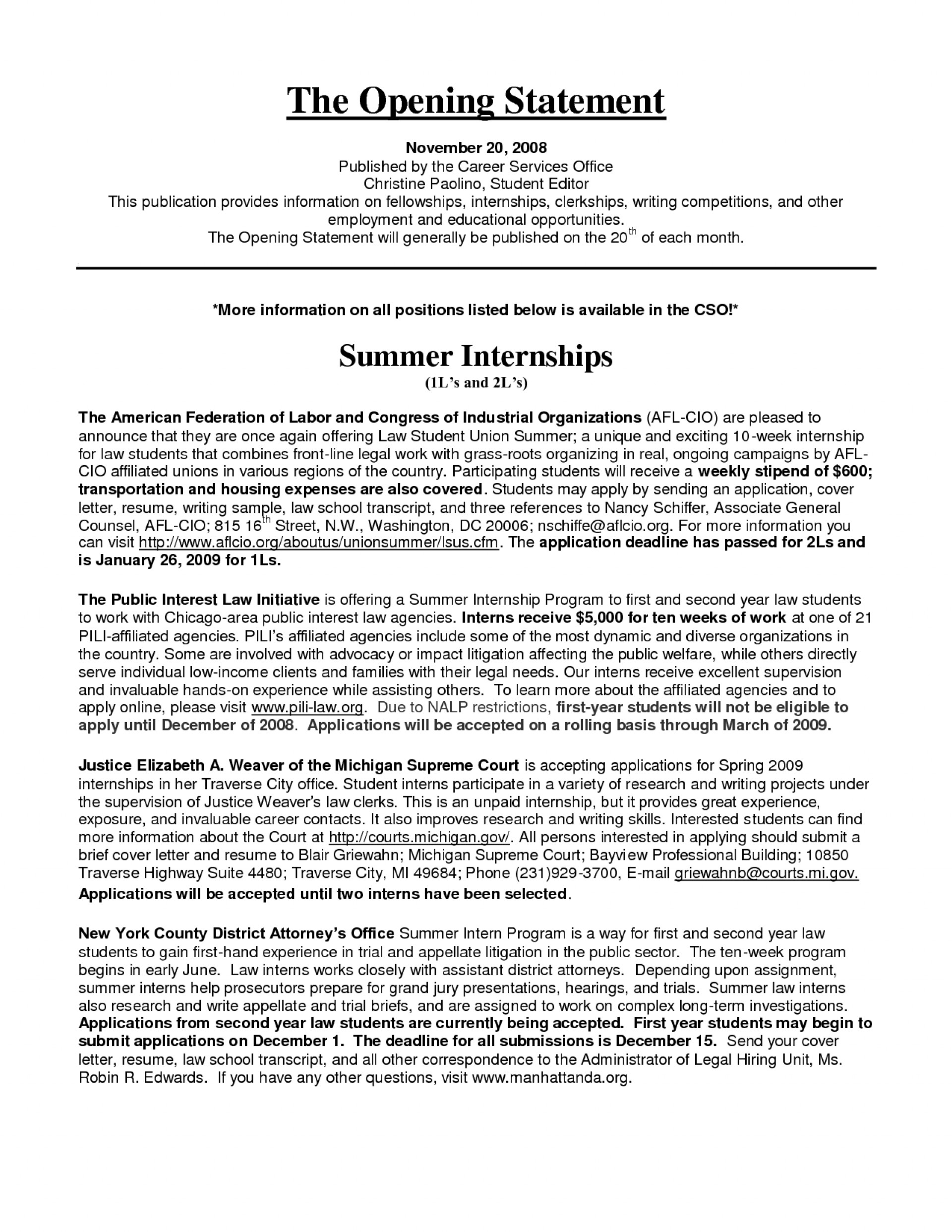 internship essay sample example education and career goals resume to write an cv opening Resume Opening Statement On A Resume