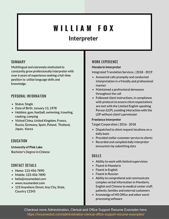 interpreter resume samples templates pdf resumes bot for translator job example front end Resume Resume For Translator Job