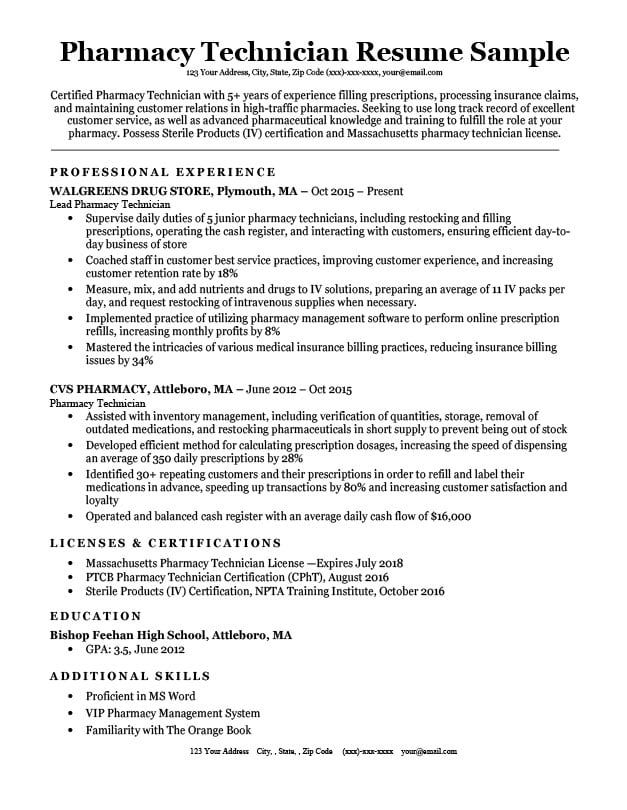 interview getting resume samples by job affirmations pharmacy technician tech skills Resume Certified Pharmacy Technician Resume