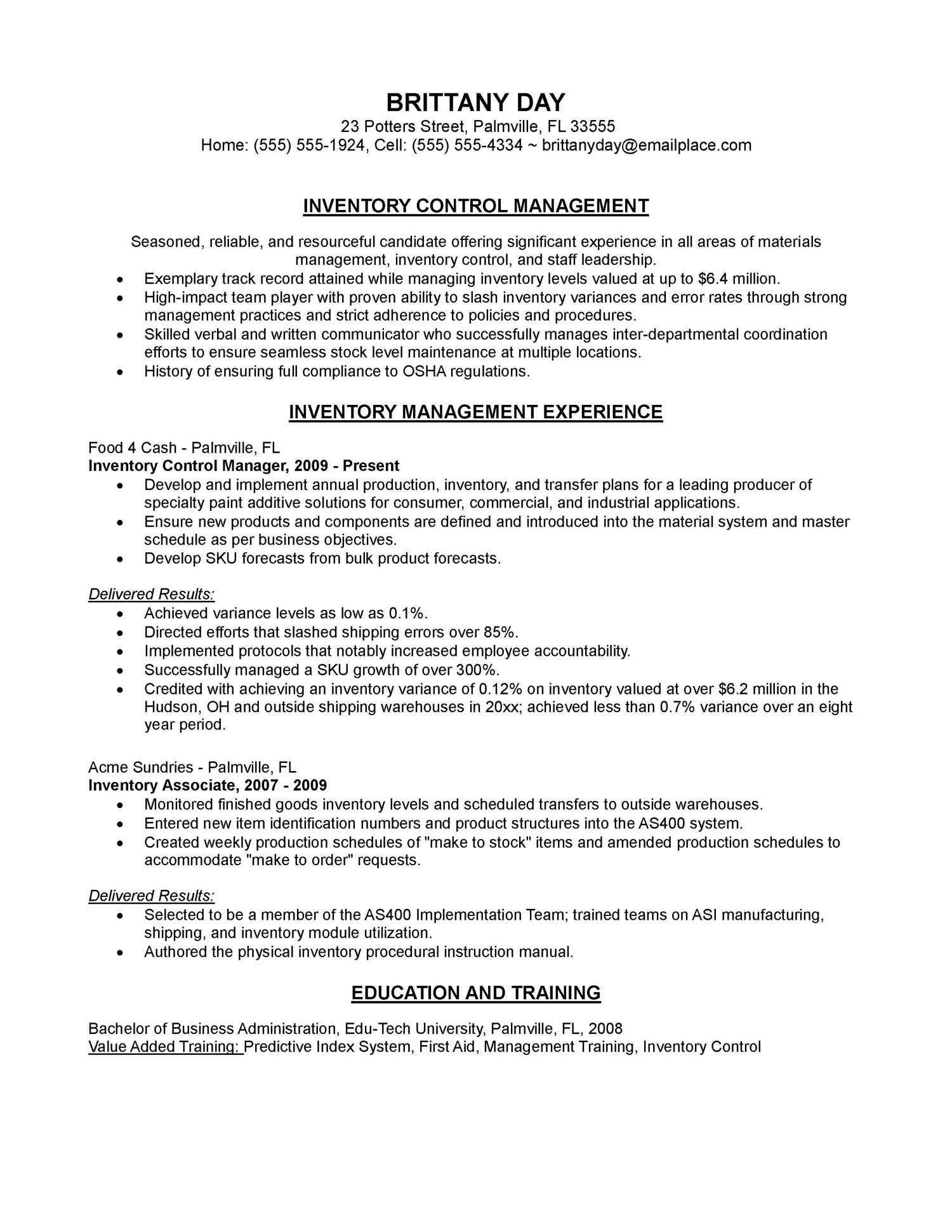 inventory control manager resume sample order management specialist work history Resume Inventory Manager Resume