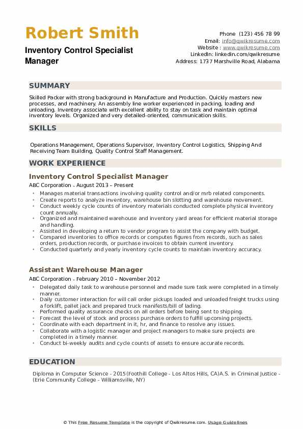 inventory control specialist resume samples qwikresume manager pdf college application Resume Inventory Manager Resume