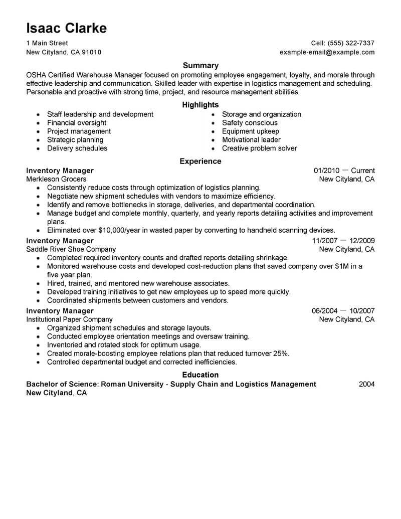 inventory manager resume professional examples management livecareer example press helper Resume Inventory Manager Resume