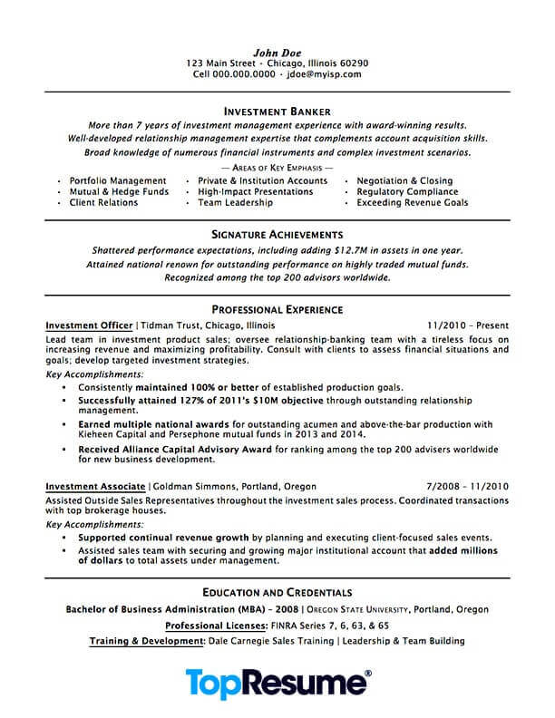 investment banking resume sample professional examples topresume template treasury Resume Professional Banking Resume Template