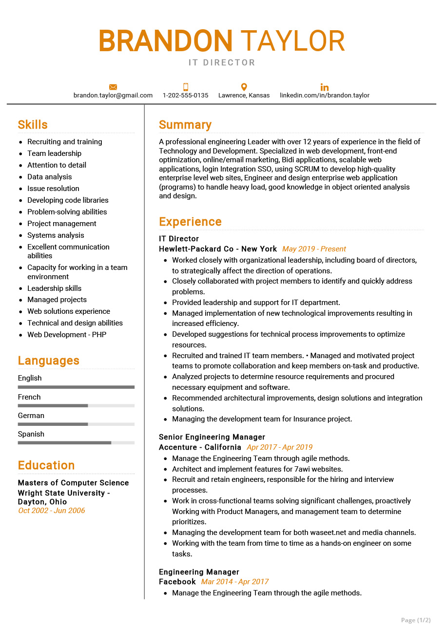 it director resume example cv sample resumekraft marketing examples strong communication Resume Marketing Resume Examples 2020