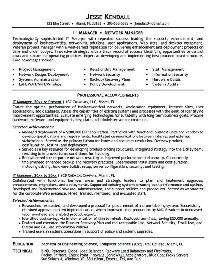 it manager resume consist of objective or summary skills and also education award project Resume Project Manager Resume Summary