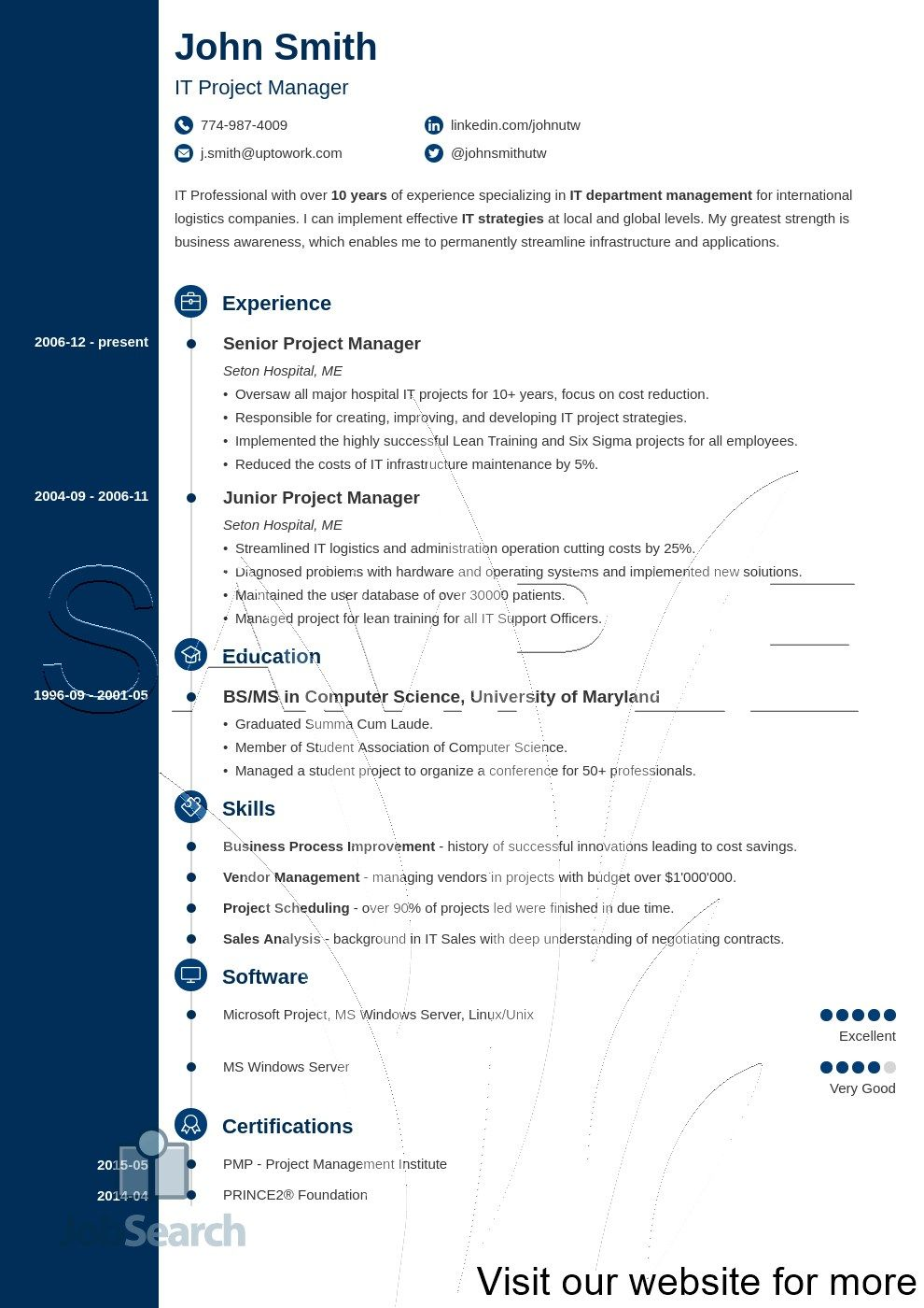 it project manager resume template cv free tips for writing skills bar mental health Resume Tips For Resume Writing 2020
