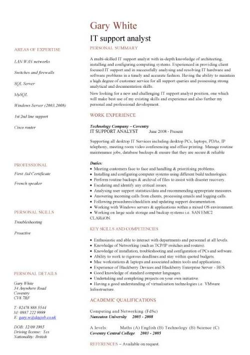 it support analyst cv sample show your strengths and explain you are the best candidate Resume It Supports Resume Sample