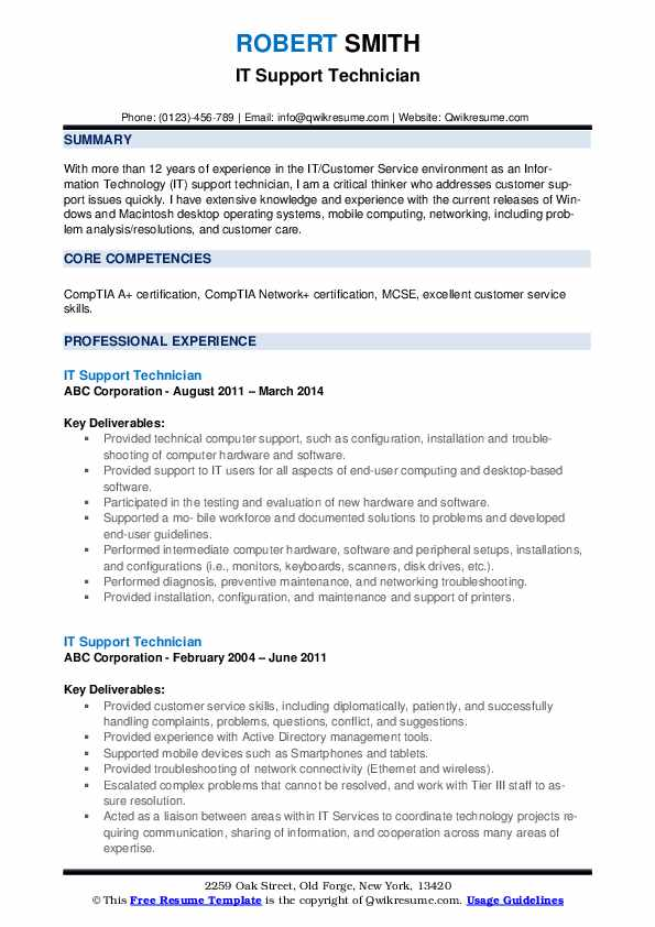 it support technician resume samples qwikresume free tech templates pdf engineering Resume Free Tech Resume Templates