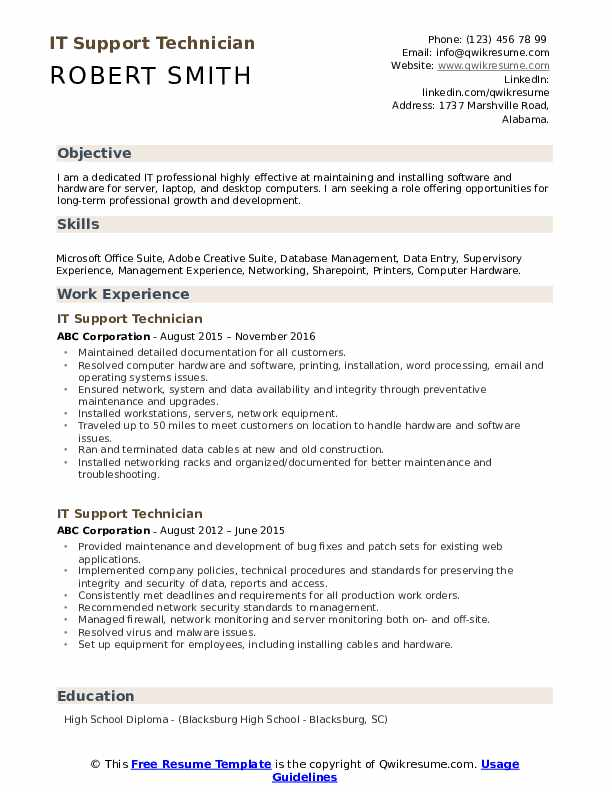 it support technician resume samples qwikresume supports pdf maintenance free classic Resume It Supports Technician Resume Samples