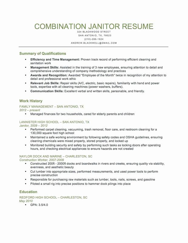janitor job description resume luxury bination sample writing tips good examples Resume Janitorial Sample Resume Examples