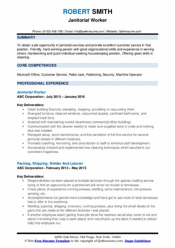 janitor resume samples qwikresume janitorial sample examples pdf of hobbies on hollister Resume Janitorial Sample Resume Examples