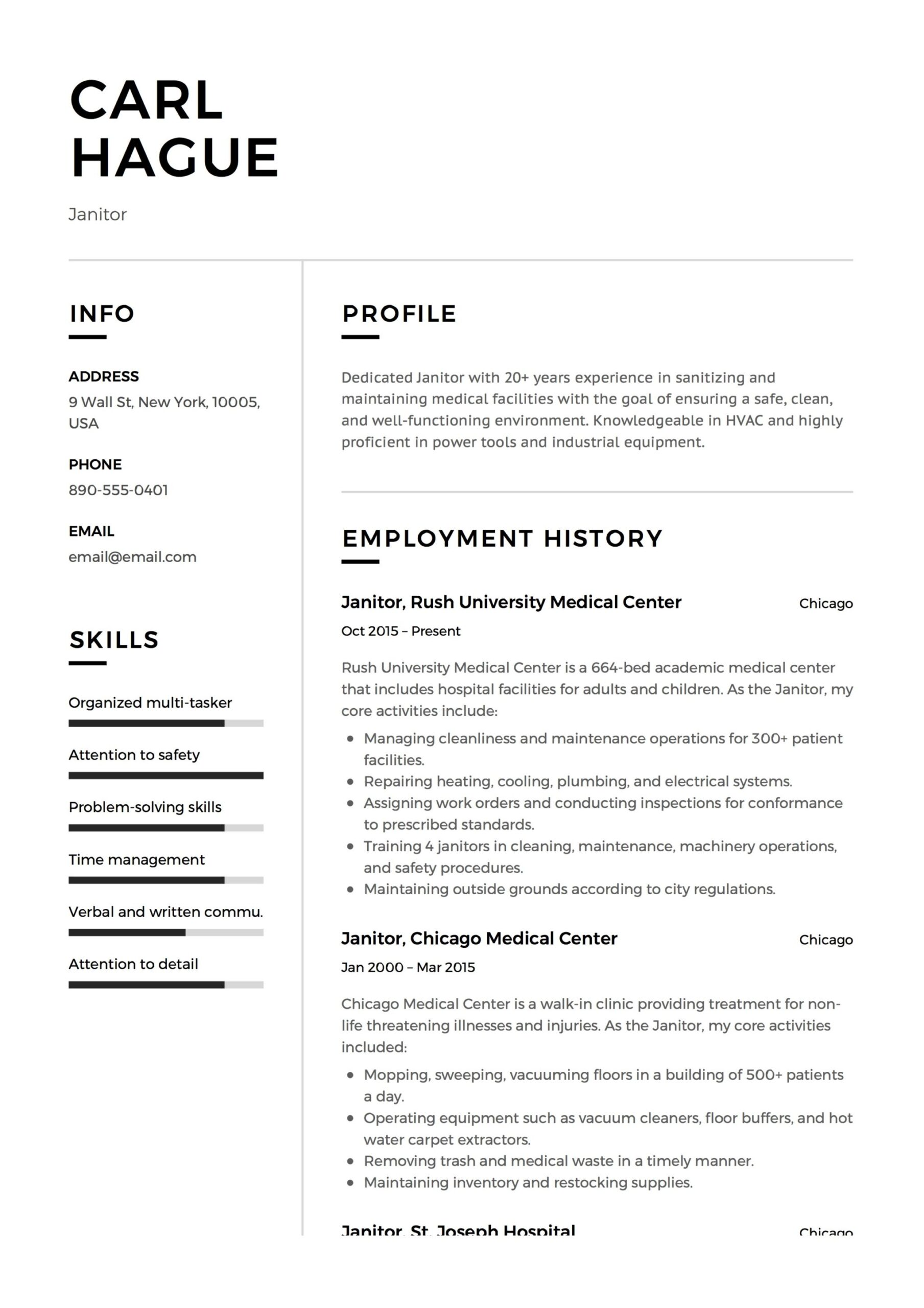 janitor resume writing guide examples pdf janitorial sample carl hague sewing machinist Resume Janitorial Sample Resume Examples