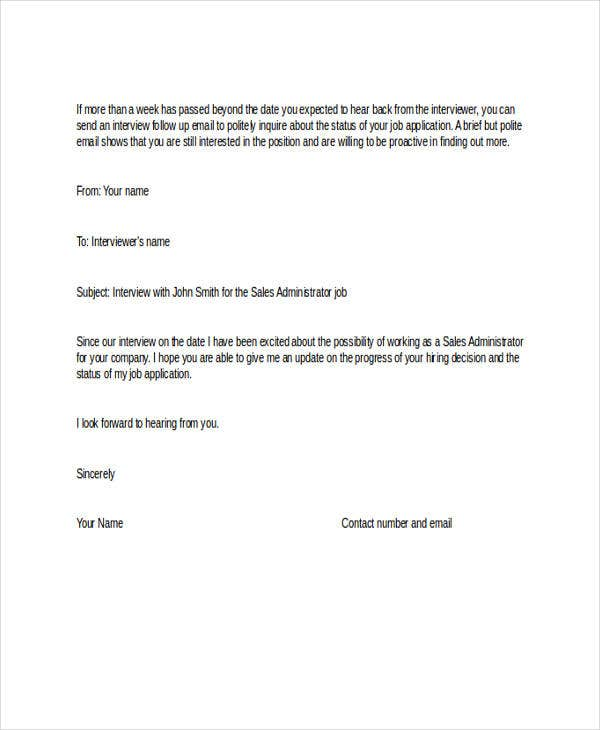 job application follow up email letter templates examples free premium sample after Resume Follow Up Sample Email After Resume