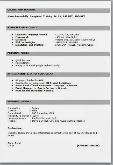 job resume format for freshers pdf best examples latest templates it fresher in word Resume Latest Resume Templates For Freshers