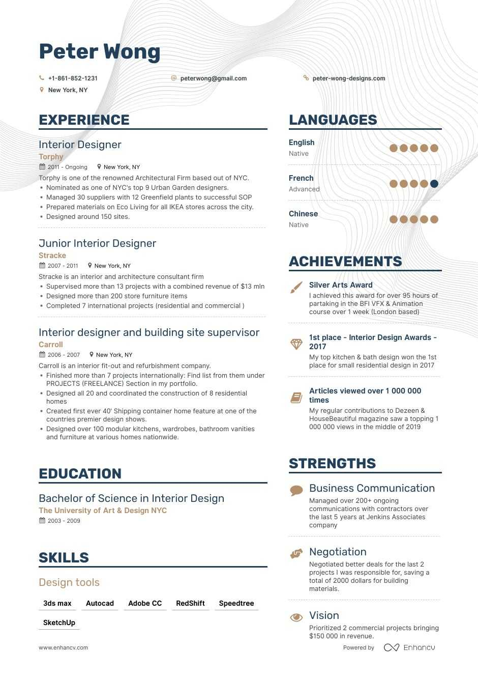 job winning interior designer resume examples samples tips enhancv design rigger guest Resume Interior Design Resume Examples