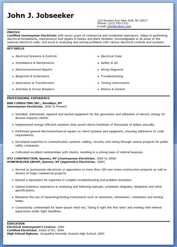 journeyman electrician resume samples downloads job examples example clinical instructor Resume Journeyman Resume Example