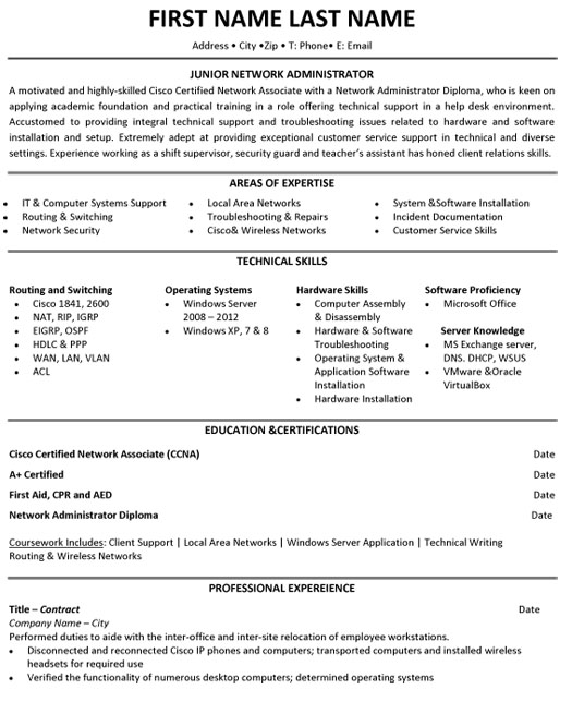 jr network administrator resume sample template for hardware and networking engineer Resume Entry Level Network Engineer Resume Sample