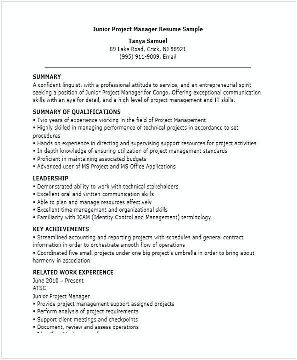 junior project manager resume for position many of us interested in being if you are the Resume Resume For Manager Position